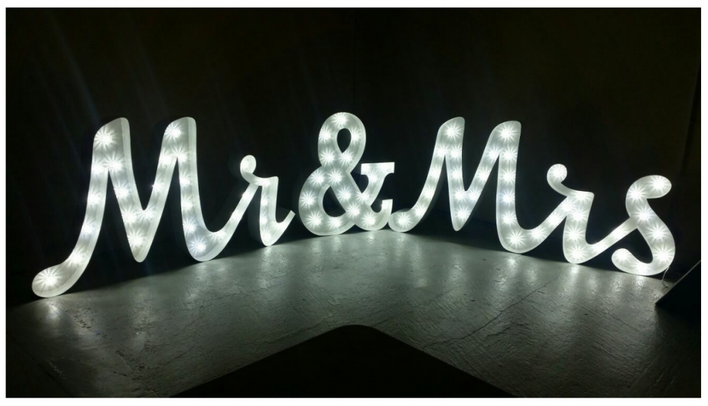 Mr & Mrs joined LED Letters