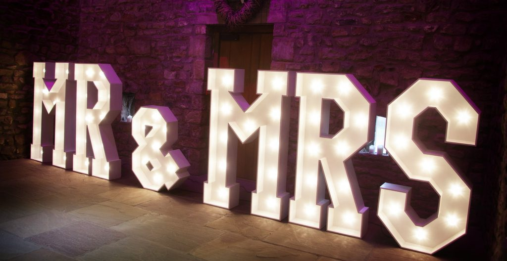 Mr & Mrs 5ft LED Letters
